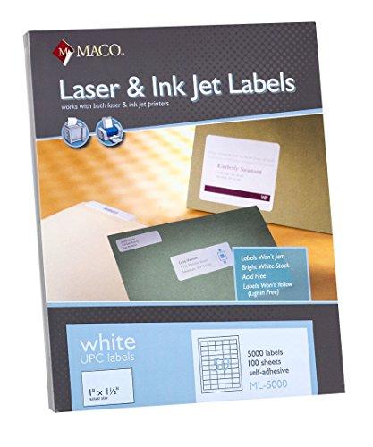 Maco ML-5000 UPC Barcode Labels - 1.5' x 1' with 500 per sheet. 100 Sheets per box.
