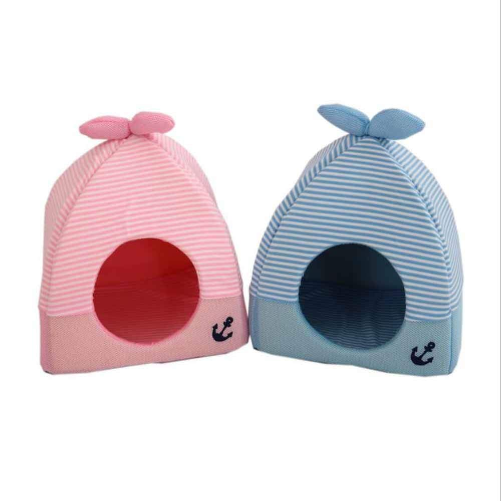 Yangshu Pet Supplies, Autumn and Winter Warm Pet Nest Dog Mat Triangle Strawberry Nest Suitable for Small Dog Cat (Color : Blue, Size : M)