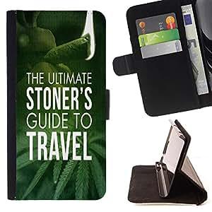 Super Marley Shop - Funda de piel cubierta de la carpeta Foilo con cierre magn¨¦tico FOR Samsung Galaxy Note 4 SM-N910 N910 IV- The ulitimate Stoner's Guide To Travel