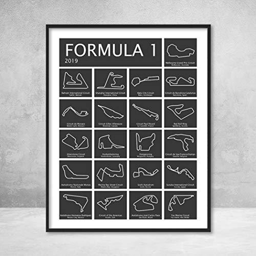 Formula 1 Race Track F1 Circuit 2019 Poster Print Wall Art Handmade Decor