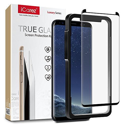 iCarez [Tray Installation Black Glass ] Screen Protector for Samsung Galaxy Note 8 (Case Friendly) Highest Quality Easy Install [ 1-Pack 0.33MM 9H 2.5D]