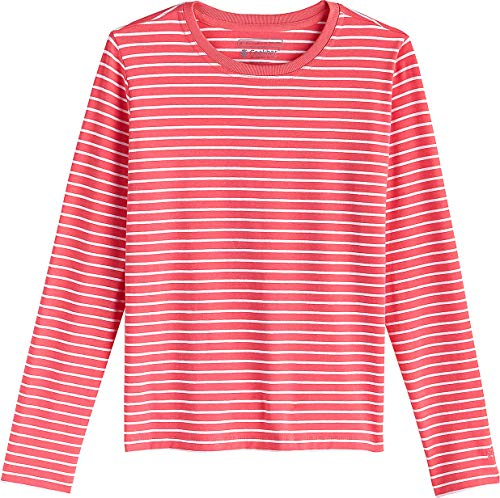 Coolibar UPF 50+ Kids' Long Sleeve Everyday T-Shirt - Sun Protective (Medium- Sunset Coral/White Stripe)