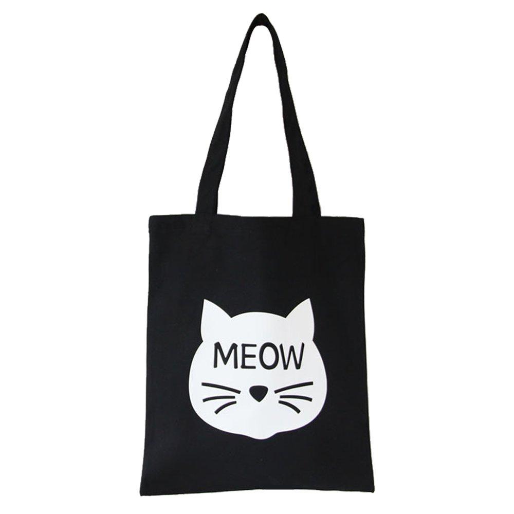 Cotton Canvas Shoulder Tote Bag Handbag Casual Travel Beach Bag Heavy Duty Grocery Shopping Bag (Black Cute Cat, Zipper)