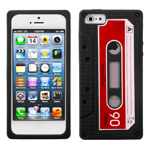 Black Retro Cassette Tape Skin Apple iPhone 5 Rubber Silicone Cover Case fits Sprint, Verizon, AT&T Wireless - Cassette Silicone Skin