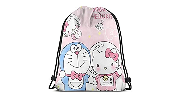 6a70aadd2 Amazon.com: MPJTJGWZ Classic Drawstring Bag-Doraemon and Hello Kitty Gym  Backpack Shoulder Bags Sport Storage Bag for Man Women: Home & Kitchen