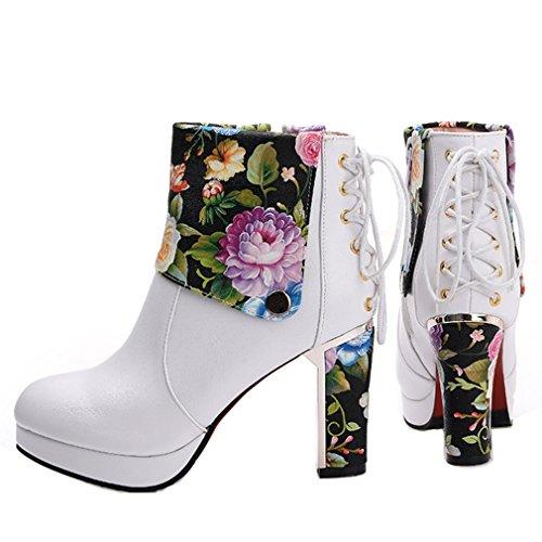 ENMAYER Damen Zip PU Material Plattform Ankle Boots Grün