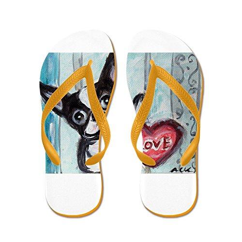 Cafepress Boston Terrier Heart - Flip Flops, Grappige String Sandalen, Strand Sandalen Oranje