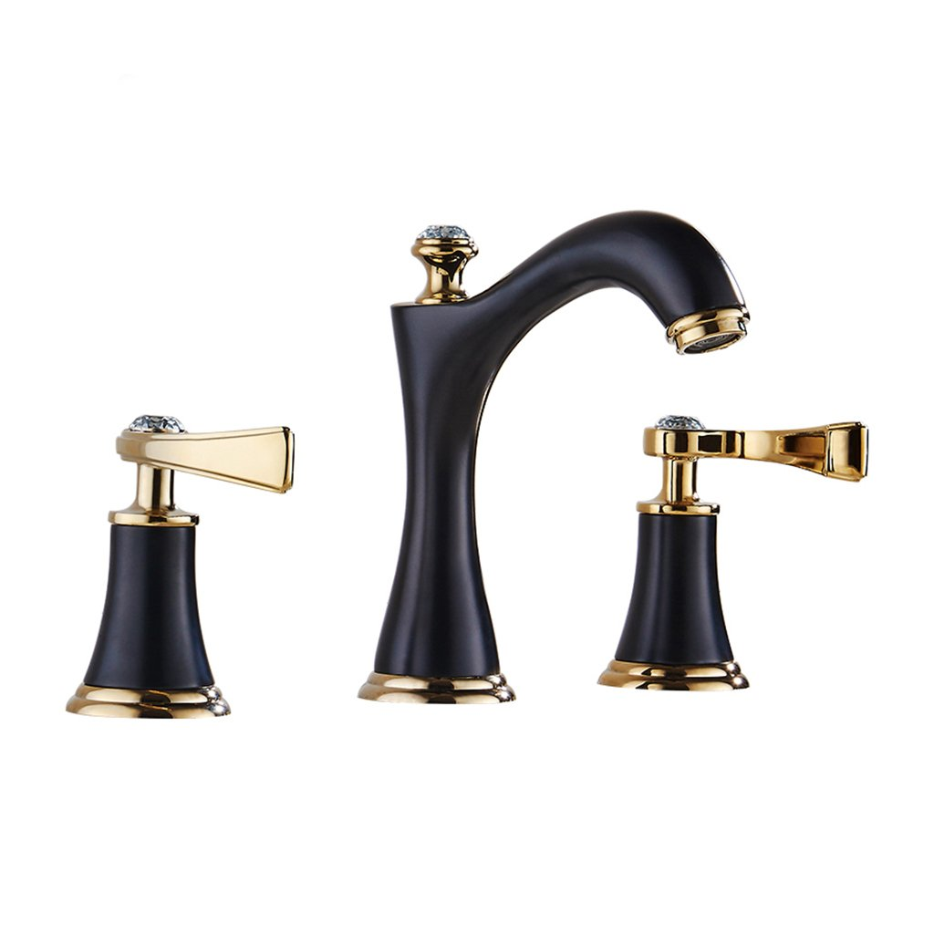 Bathroom sink faucet Waterfall Spout Two-Handle 7 Inches Water Saving Tap with Supply Hose for Commercial Faucet 3 Hole Split Faucet Deck Mount