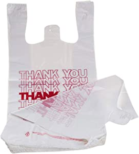 """TashiBox Shopping Bags/Thank You Bags/Reusable and Disposable Grocery Bags - Measures 11.5"""" X 6.25"""" X 21"""", 15mic, 0.6 Mil (1000)"""