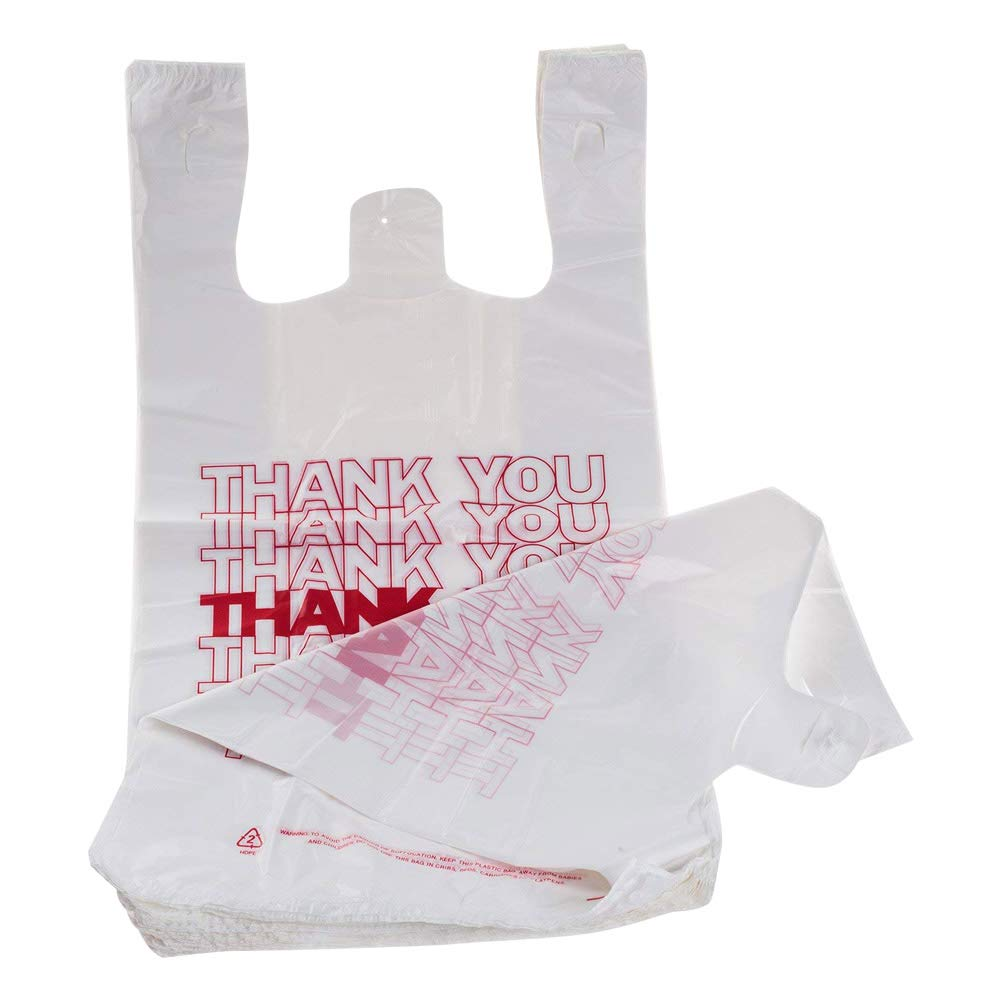 TashiBox Shopping Bags/Thank You Bags/Reusable and Disposable Grocery Bags - Measures 11.5'' X 6.25'' X 21'', 15mic, 0.6 Mil (1000)
