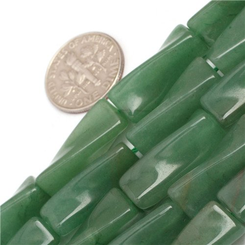 GEM-inside Green Aventurine Jade Gemstone Loose Beads Natural Genuine 9x20mm Column Twist Energy Stone Power Beads For Jewelry Making 15