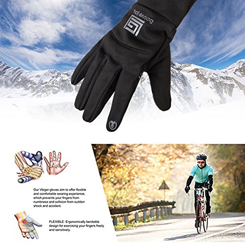 Opard Winter Gloves Phone Touch Screen Waterproof Warm Inner Thermal Fleece for Men Women Work Sports Outdoor Motorcycle Cycling (Black)(Size-XL)