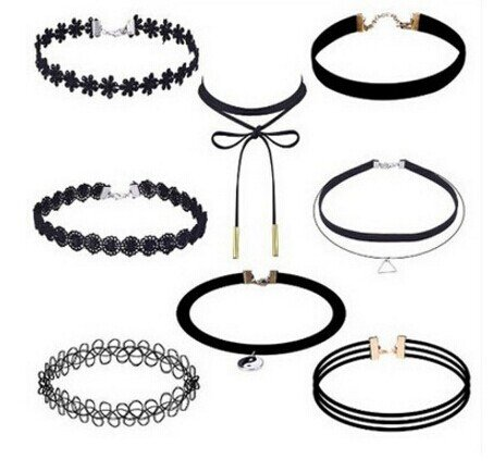 Iumer Black Velvet Choker Necklaces with Storage Bag for Women Girls Pack of 8 (Common Halloween Costumes)