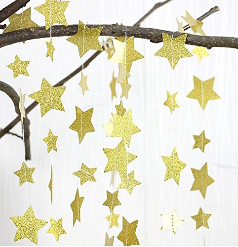 Christmas Gold Glittery Star Garland Decoration 5 Meters Elegant Shiny and Sparkling 16 Feet Long Party Background Decor. Ideal For Weddings, Birthday Parties, Bridal Showers, Holidays, Baby -