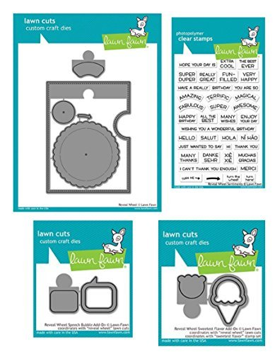 Lawn Fawn Reveal Wheel Die Set, Speech Bubble Die Add on Set, Sweetest Flavor Add-on Dies and Coordinating Reveal Wheel Clear Stamp Sentiments (LF1700, LF1701, LF1702, LF1703), 4 Piece Bundle by Lawn Fawn