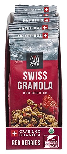 Avalanche Organic Red Berries Swiss Granola, 1.76 Ounce Bag (Pack of 6) Organic, Non-GMO, All Natural, Kosher, Portable Packet of Granola, Convenient Size Snack On The Go, Can Pour in - Chocolate Dark Organic Swiss