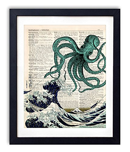 (akeke Blue Octopus Upcycled Vintage Dictionary Art Print 8x10 Unframed)