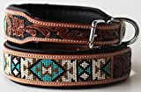 Leather Dog Collar - PRORIDER Large 21''- 25'' Dog Puppy Collar Cow Leather Adjustable Padded Canine 6074