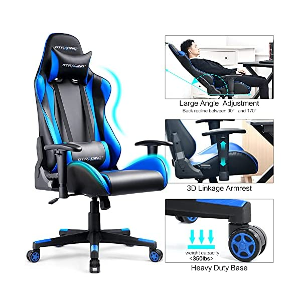 Best Gtracing Gaming Chair 2021 Ergonomic Backrest and Blue