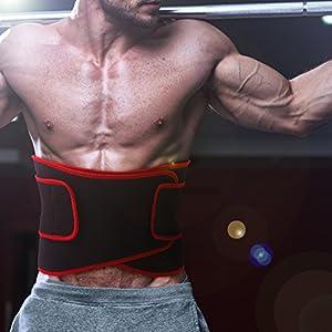 Becko Adjustable Waist Trimmer Belt / Weight Loss Ab Wrap / Sweat Workout Enhancer / Back & Lumbar Support / Tummy Belt for Man & Woman (Red)