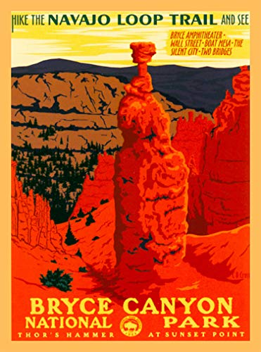 A SLICE IN TIME Bryce Canyon National Park Navajo Loop Trail Utah United States Vintage Travel Home Collectible Wall Decor Advertisement Art Poster Print. 10 x 13.5 inches (Best National Parks In Denver)