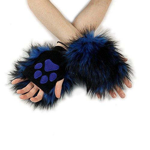- Pawstar Wolf Fur Pawlets Furry Paw Fingerless Gloves - Blue