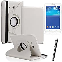 Samsung Galaxy Tab 3 Lite 7.0 SM-t110 7-inch Case,Samsung Tab3 7 Tablet Case,360 Rotating Leather Stand Case Cover for galaxy Tab 3 Lite 7.0 Back Case+ Screen Protector + Stylus,White