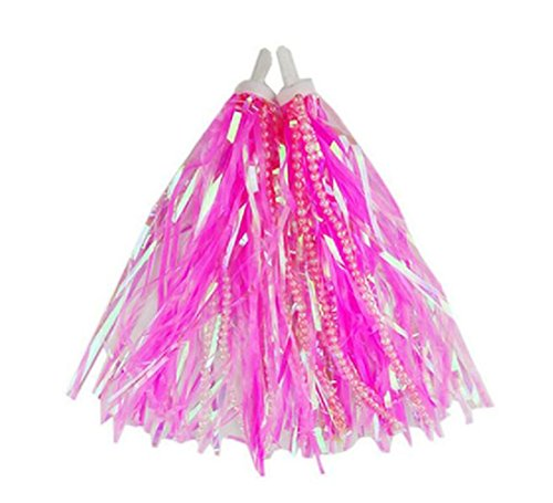 Scooter Streamers Kids Children Bike Scooter Handlebar Colourful Streamers with Beads Pom-pom Pair Baby Carrier Accessories Bicycle Grips Sparkle Tassel Ribbon (Pink)