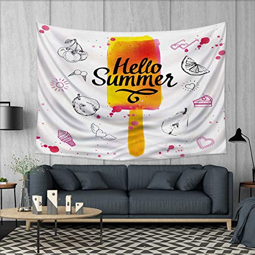 Anhuthree Ice Cream Tapestry Wall Hanging 3D Printing Hello Summer Motivational Quote with Lime Heart Sun Cake Color Splashes Image Beach Throw Blanket 60