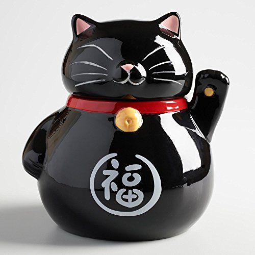 Waving Lucky Cat Cookie Jar Ceramic with Air Tight Lid