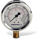 "Enerpac G2517L Hydraulic Pressure Gauge with Dual 0 to 6,000 PSI and 0 to 400 Bar Range, 2-1/2""-Dia. Face, 1/4"" NPTF Male, Lower-Mount Connection"