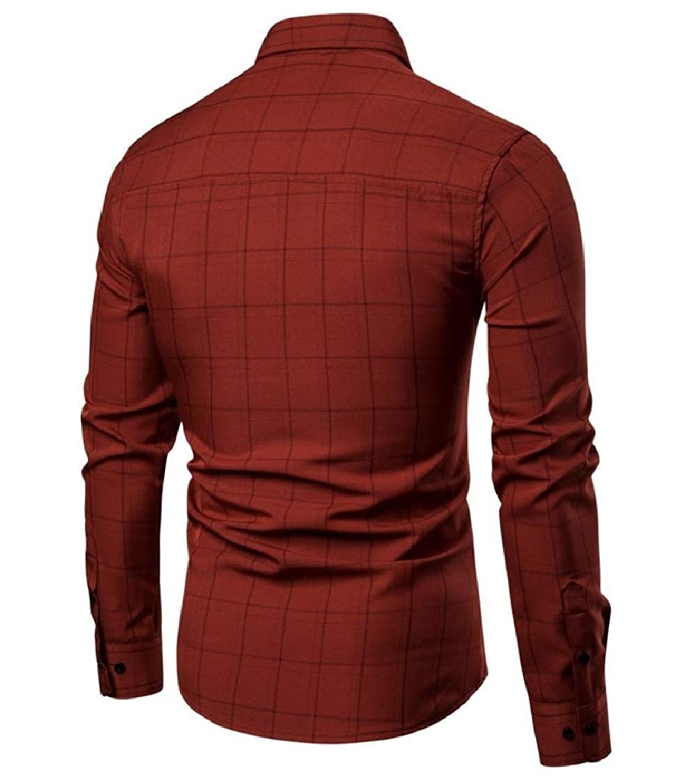 YUNY Men Business Long-Sleeve Casual Plaid Button Down Western Shirt Wine Red XL