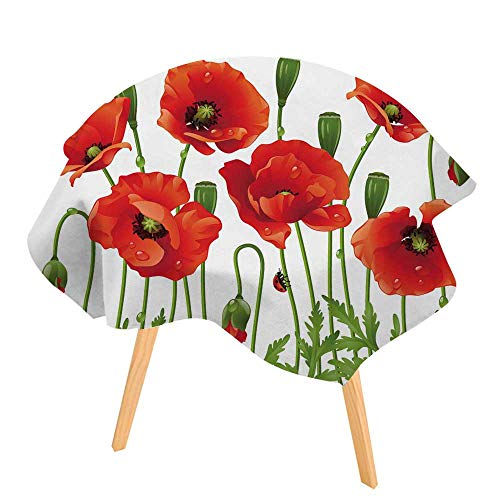 PINAFORE Printed Tablecloth Spring Flowers Poppy Modern Printed Spill Proof Cloth Round Tablecloths 50