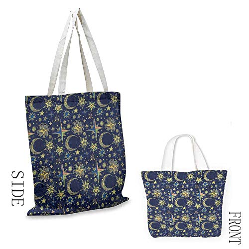 - Canvas craft tote Modern Starry Sky with Crescent Moon Night Astronomy Space Cosmos Design reusable 16.5