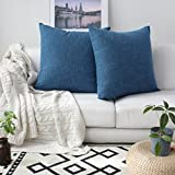 Decorative Pillow Cover - Kevin Textile Decorative Toss Pillow Case Star Striped Linen Cushion Cover for Sofa,Navy Blue,26x26-inch (66x66cm), 2 Packs