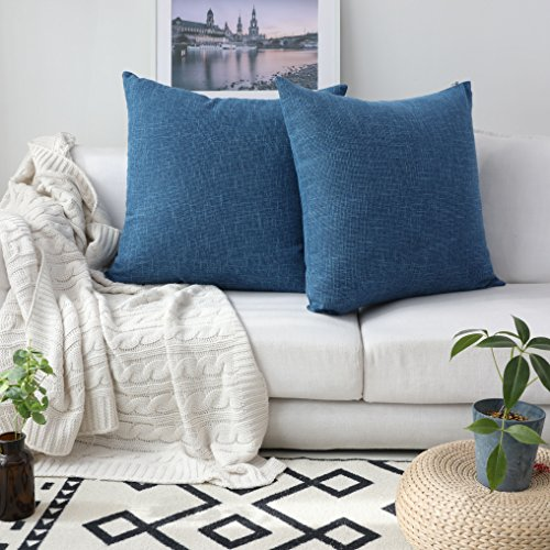 Kevin Textile Decorative Toss Pillow Case Star Striped Linen Cushion Cover for Sofa,Navy Blue,26x26-inch (66x66cm), 2 (Navy Blue Toss Pillow)