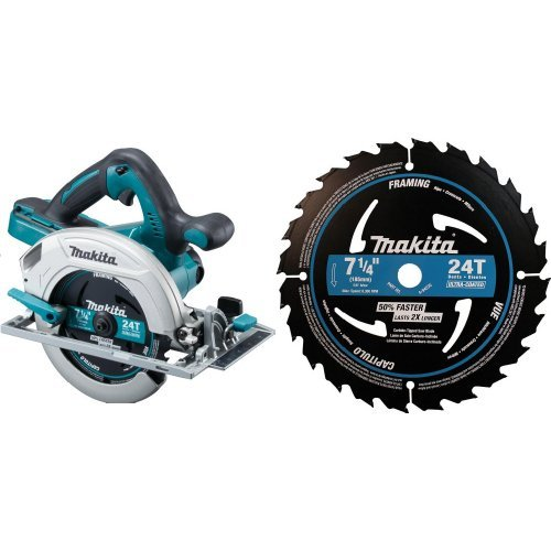 Makita XSH01Z 18-Volt X2 LXT Lithium-Ion Cordless 7-1/4-Inch Circular Saw (Tool Only, No Battery) with A-94530-10 7-1/4 inch 24T Ultra-Coated Framing Blade, 10-Pack