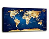 Wall Art blue map of the world Painting Ready to Hang -20'' x 40'' Pieces Large Framed wall art world Map Canvas Art Map wall decorations Artwork Prints for Background For Home Office Decoration.