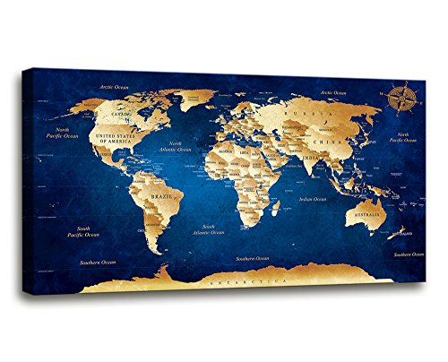 Wall Art blue map of the world Painting Ready to Hang -20'' x 40'' Pieces Large Framed wall art world Map Canvas Art Map wall decorations Artwork Prints for Background For Home Office Decoration. by youkiswall art