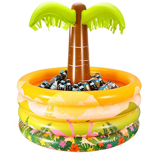 (iBaseToy Inflatable Palm Tree Coolers, Tropical Hawaiian Beach Theme Party Decor, Floating Pool Cooler for Pool Party and Summer BBQ Party, Inflatable Bar Cooler for Adult Party Decorations-36 x 35