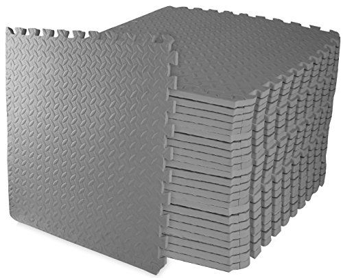 BalanceFrom Puzzle Exercise Mat with EVA Foam Interlocking Tiles (Gray)