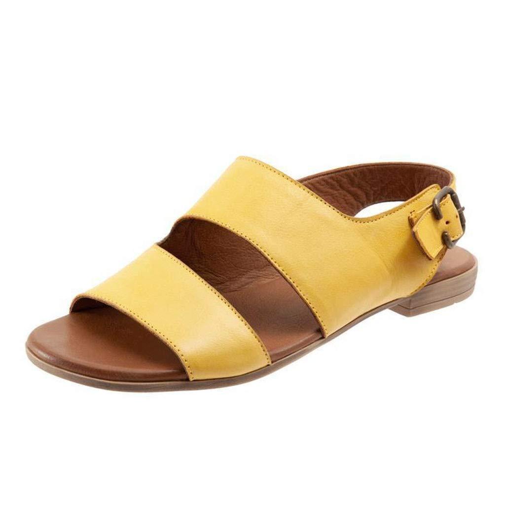 Sandals for Women Retro Buckle-Strap Sandals Flat Bottom Roman Open Toe Sandals Large Size Shoes(40, Yellow)