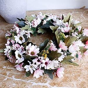 Shouyi Artificial Daisy Flower Wreaths Flowers Garland for Front Door Wall Home DIY Garden Office Wedding Decor 4
