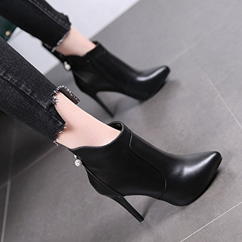 Head Woman High With Super Black Platform 10Cm Boots Heels Short Water Boots Waterproof Winter Fine Drill Woman Autumn Heel High Heels MDRW Martin qRtnaYS