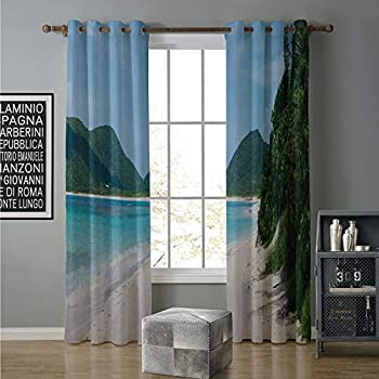 Image of alilihome Blackout Curtain for Living Room 120 by 108 Inch Puerto Rico,Flamenco Beach on The Island of Culebra Summer Season Wanderlust Getaway Theme,Multicolor Home and Kitchen