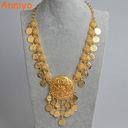 LTH12 Chain Necklaces - 84cm(33 in) Dubai Coin Length Necklaces for Women,Arab Coin Luxury Wedding Gift Islam/Middle East/African Jewelry #071406 1 PCs -