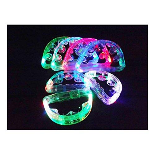 12 Flashing Tambourines Light Up Round Jingles LED Church Autism Sensory Toy Size: 6