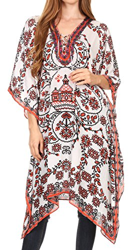 Sakkas P2 - Kristy Long Tall Lightweight Caftan Dress/Cover up with V-Neck Jewels - 17133-WhiteRed - OS