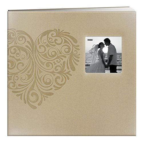 (Pioneer Photo Albums MB-10EW Postbound Embossed Leatherette Frame Cover Wedding Memory Book, 12-Inch by 12-Inch, Heart )