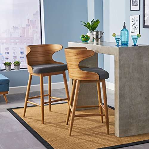 Christopher Knight Home 304582 Truda Mid Century Modern Fabric Barstools Set of 2 in Charcoal,